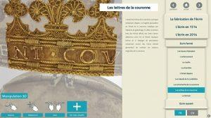 Capture d'écran de l'application de découverte de l'écrin du coeur d'Anne de Bretagne en 3D